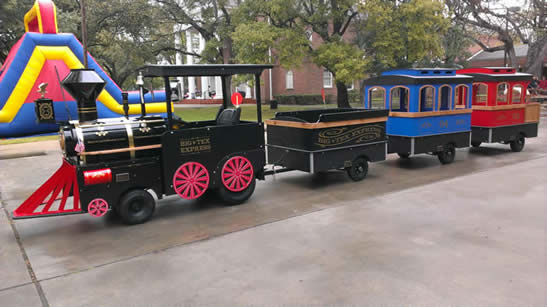 you wont find another train like this one there is a classic train bell and it can play music and classic train sounds it has 3 cars that seat 18 22 kids